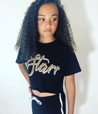 Starr Leopard Print Cropped T-Shirt - Black