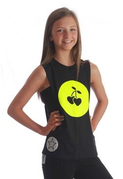 Adults VIP - Cherry Heart T-Shirt in Neon Yellow