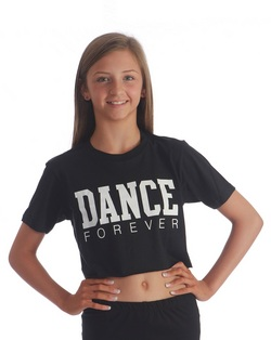 Adults Dance Forever Cropped Tee - Black