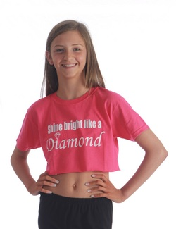 Adults Shine Bright Cropped Tee - Pink