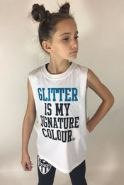 Glitter is my Signature colour Sleeveless T-Shirt - White